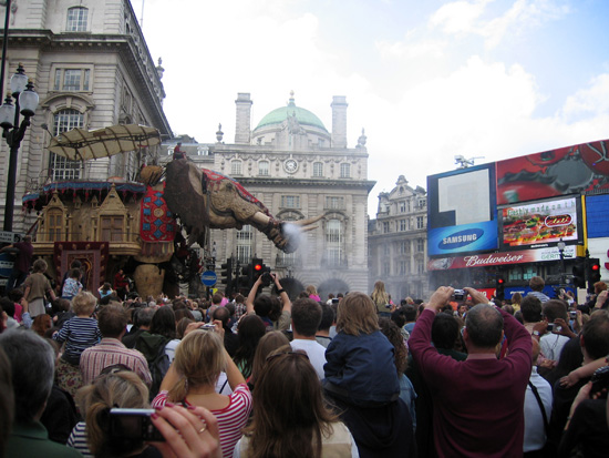 The elephant braves the Piccadilly crowds