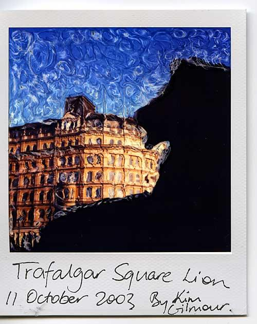 trafalgar square lion, polaroid